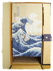 Noren Surfeur Vague Hokusai