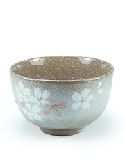 Brown tea cup with flowers Heian Sakura
