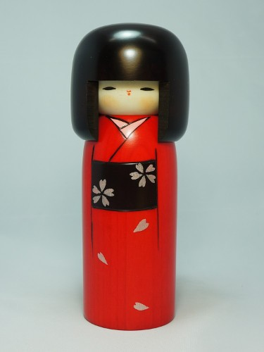 Kokeshi Red Flowers Haregi