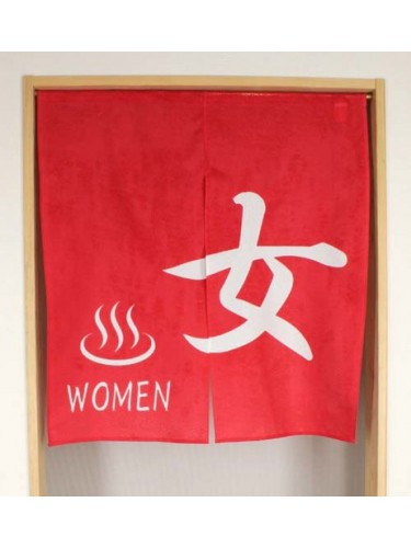 Red noren Onsen Onna Women kanji