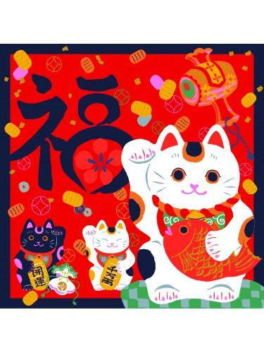 Furoshiki Maneki Neko Taiyaki